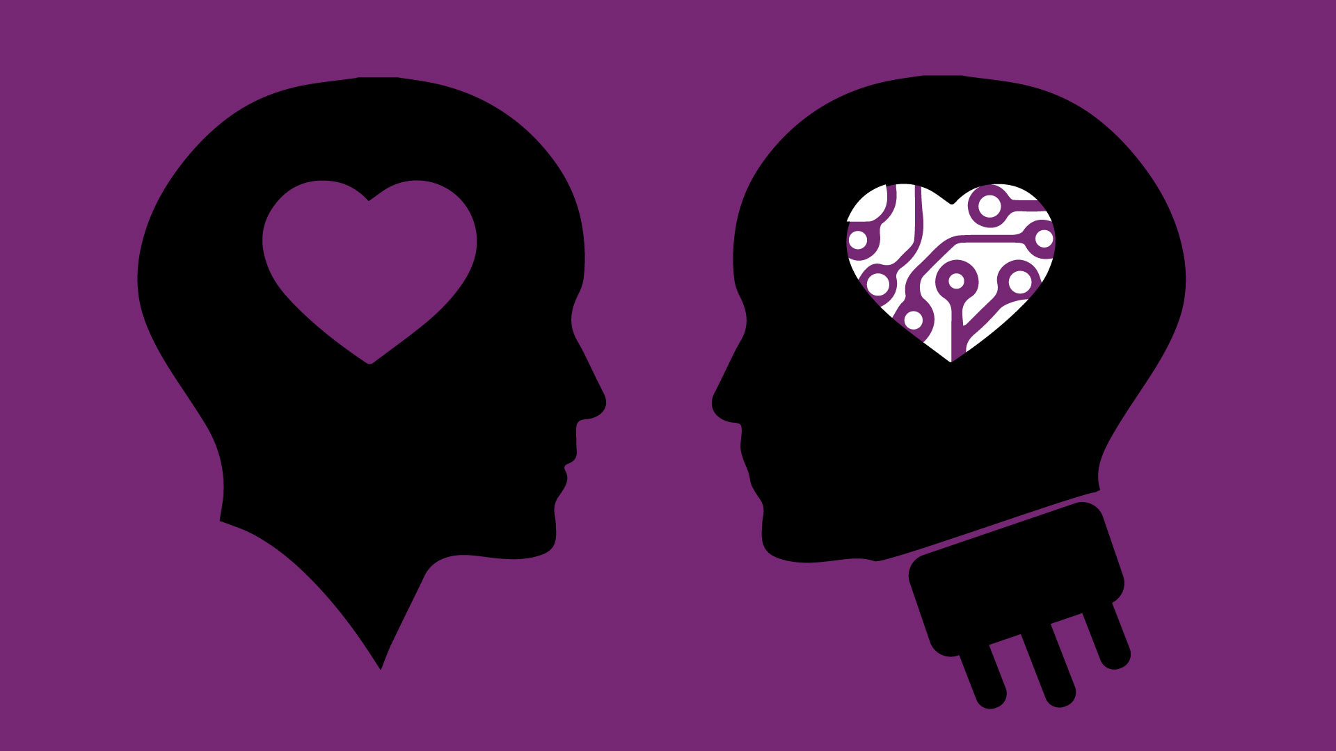 Illustration of two heads, one human and the other a robot or machine.