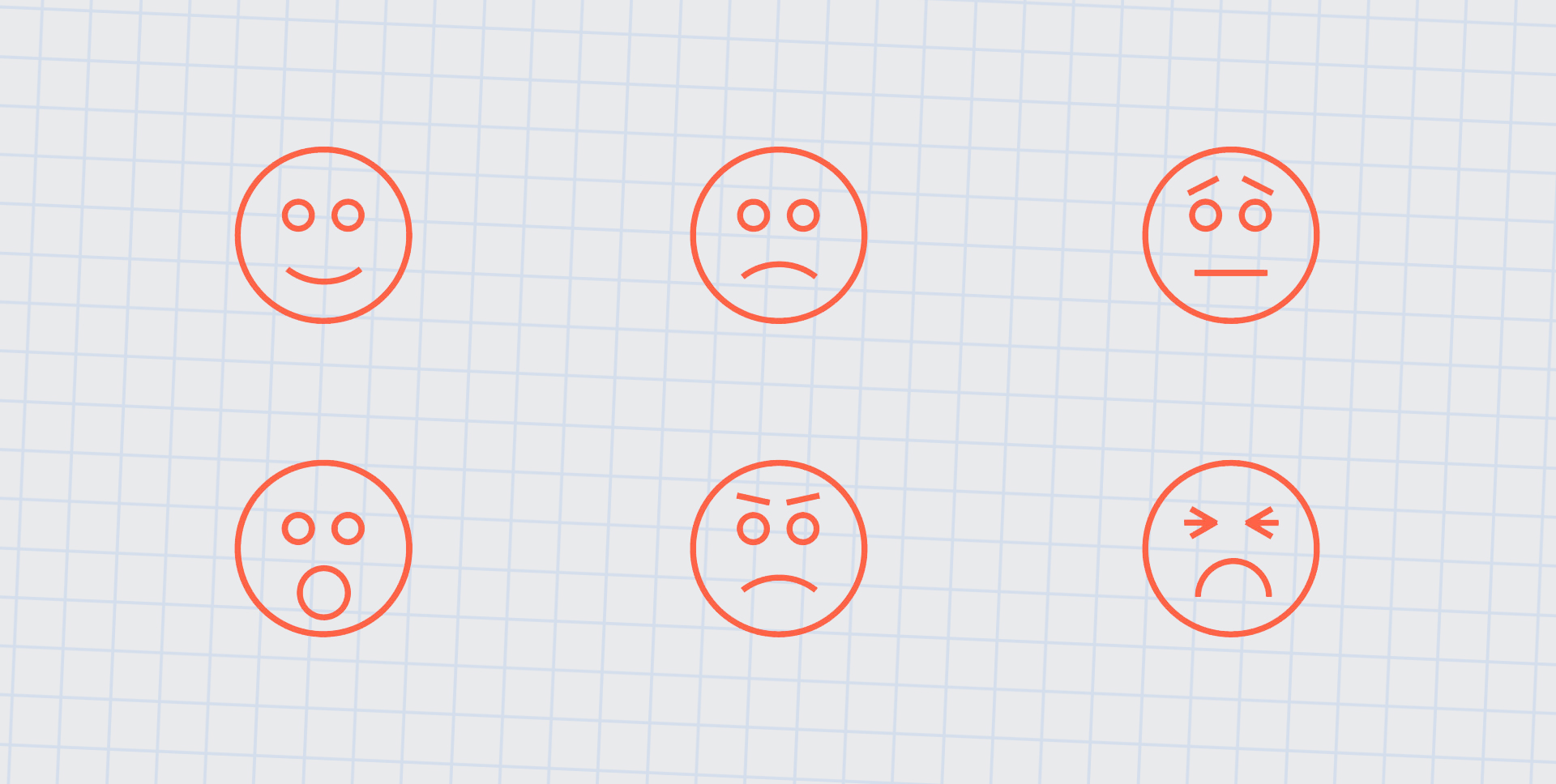 Emoticons depicting the expressions of six universal emotions