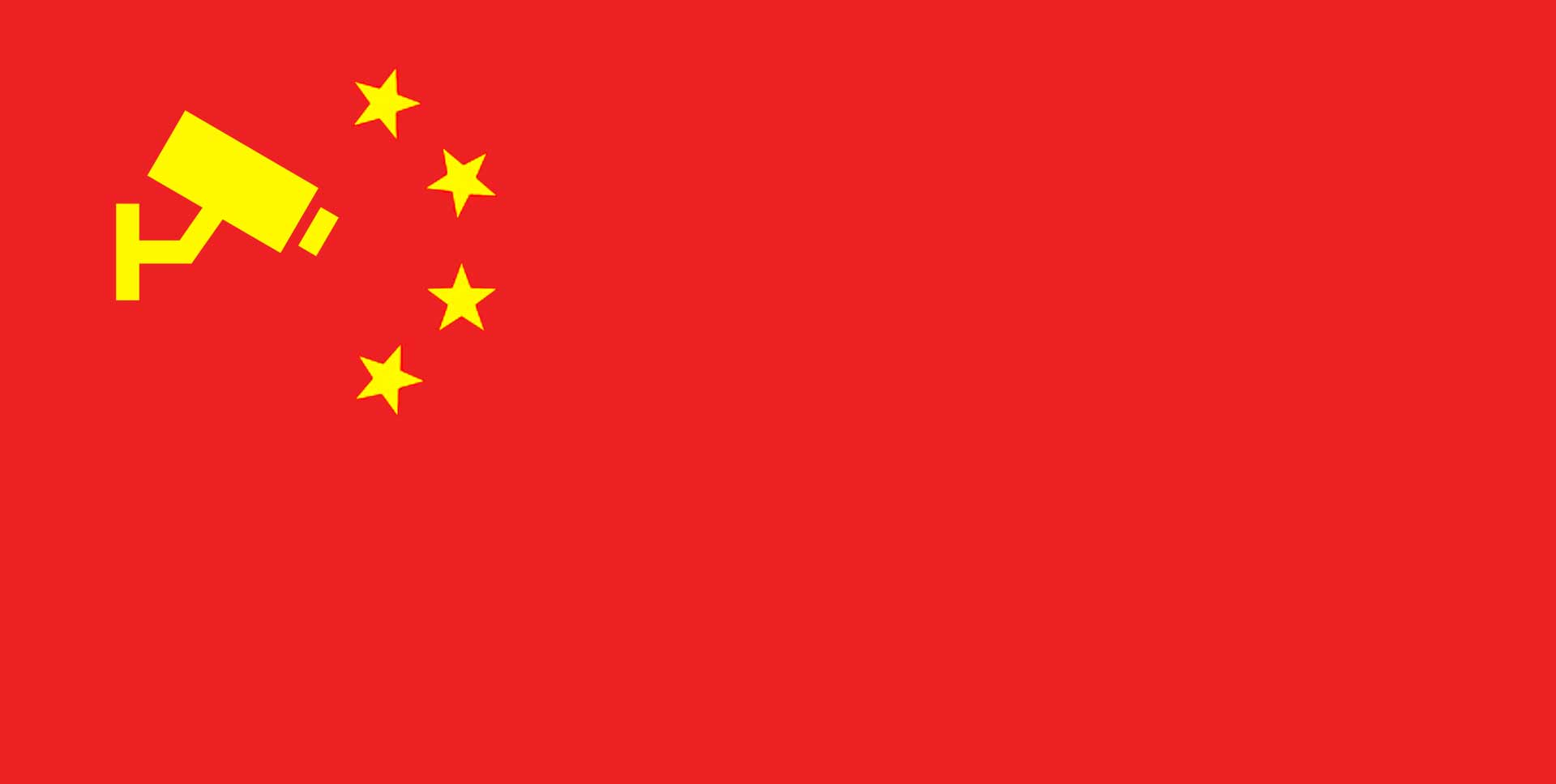 Chinese flag but with camera instead of stars