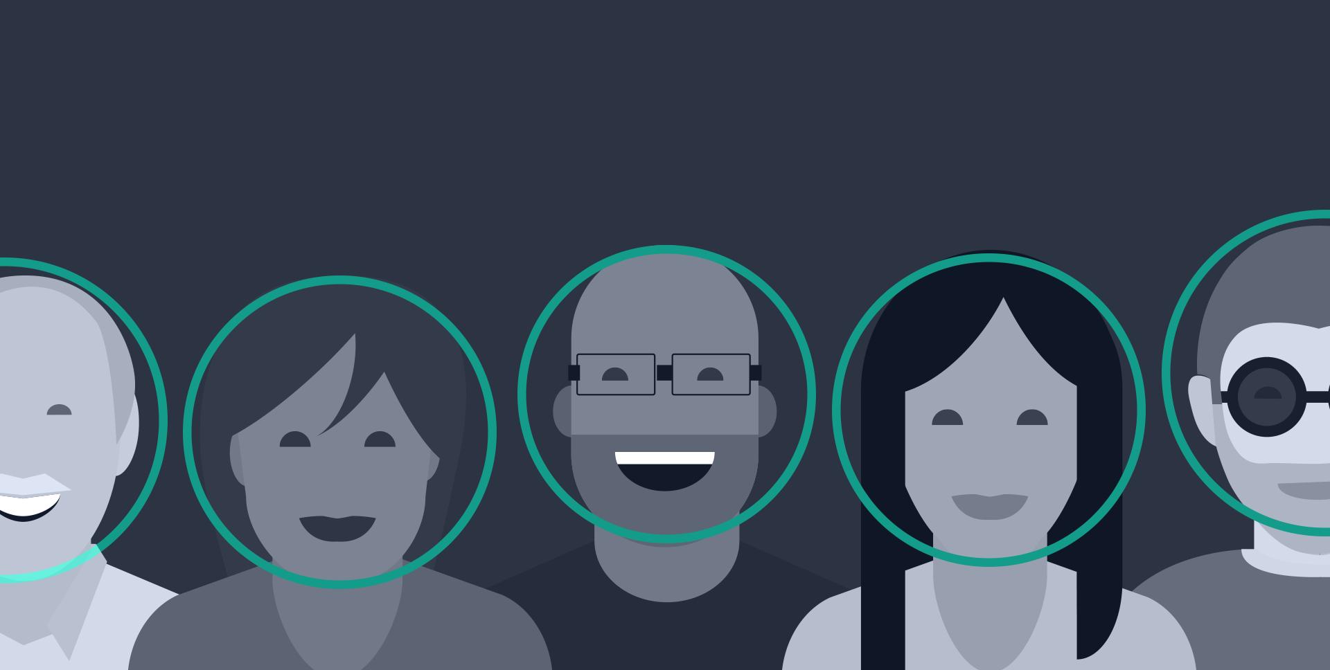a crowd of cartoon faces with a circle around their faces denoting facial detection