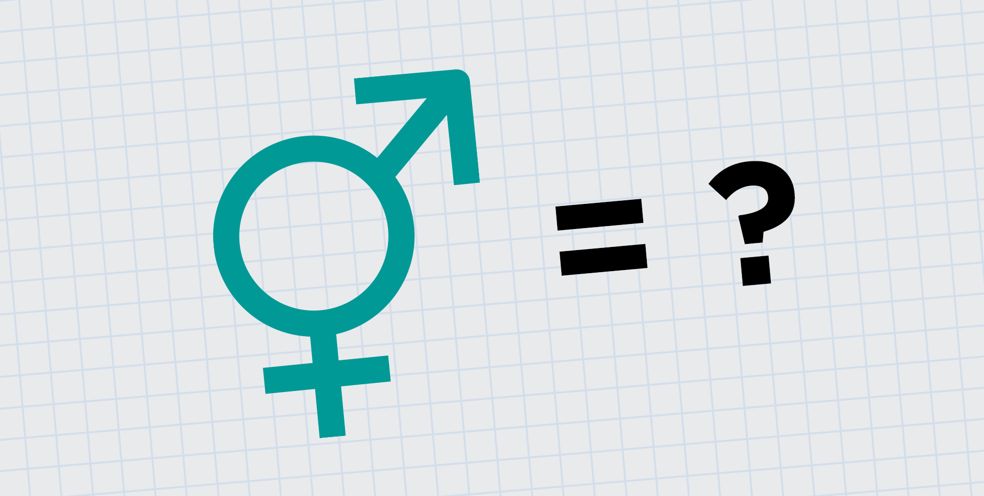 Male and female gender symbols next to a question mark