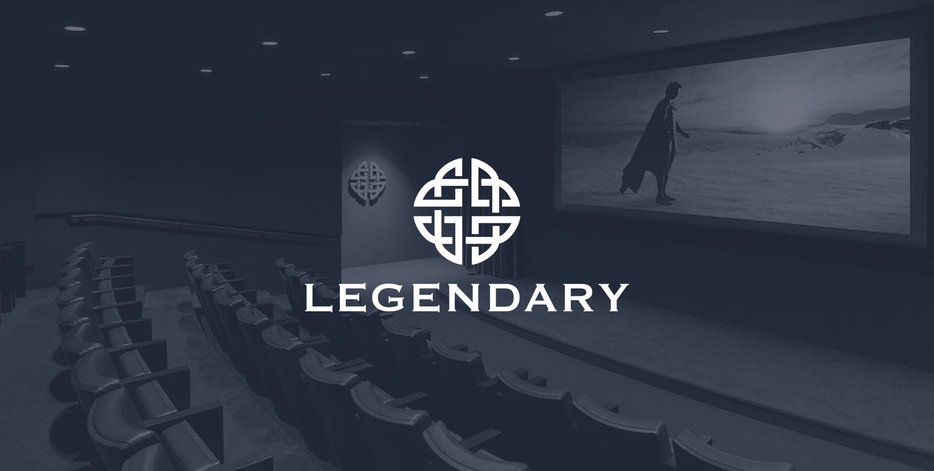 Legendary Pictures logo overlaid on a photo of a movie theater