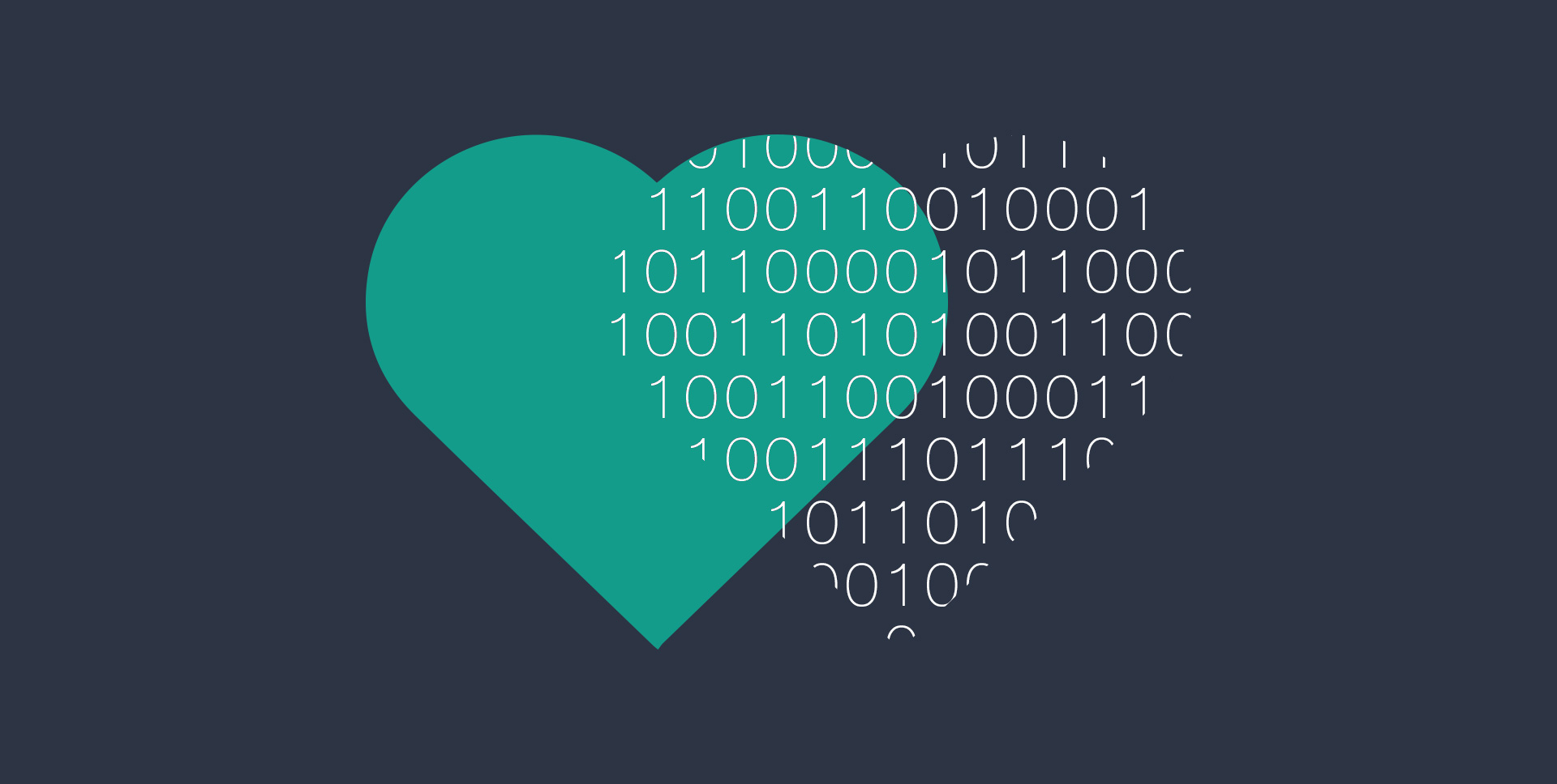 Illustration of two overlapping heart shapes; one green colored, the other made of binary code.