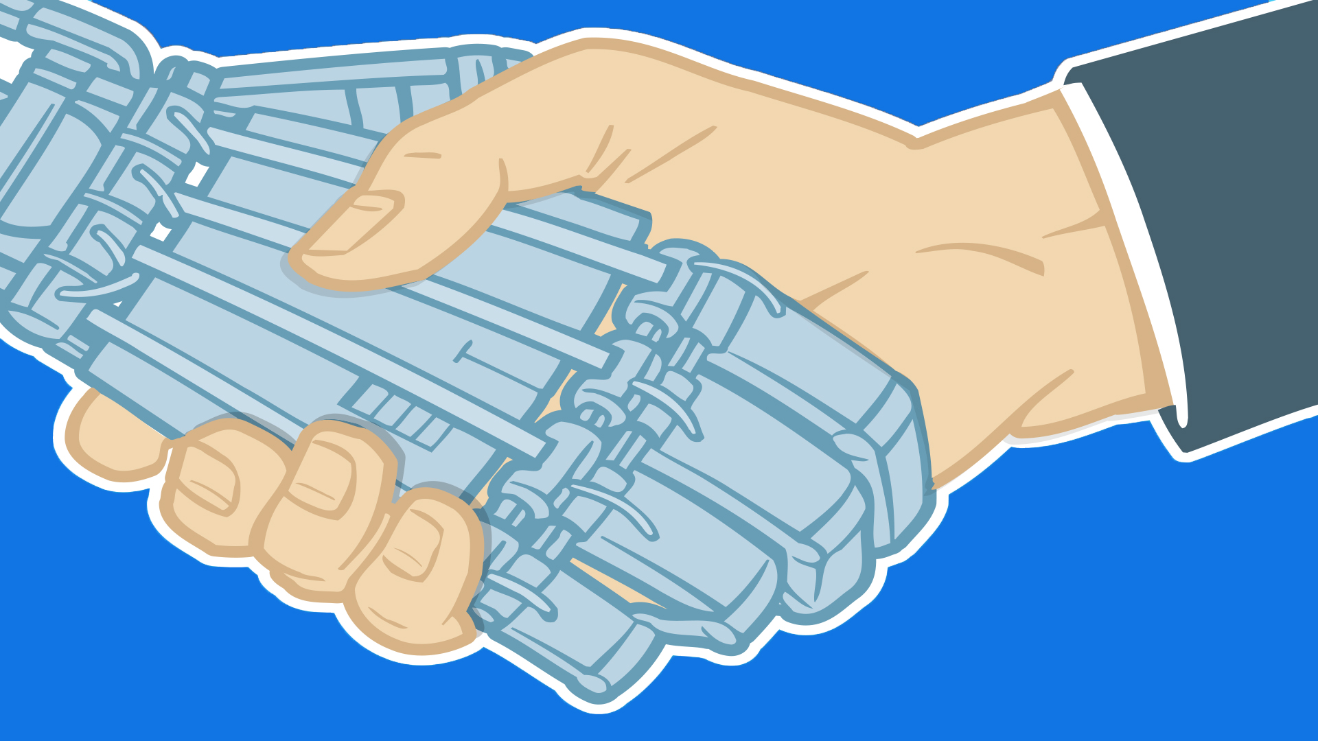 Illustration of two hands shaking, one human hand the other a robot or machine hand