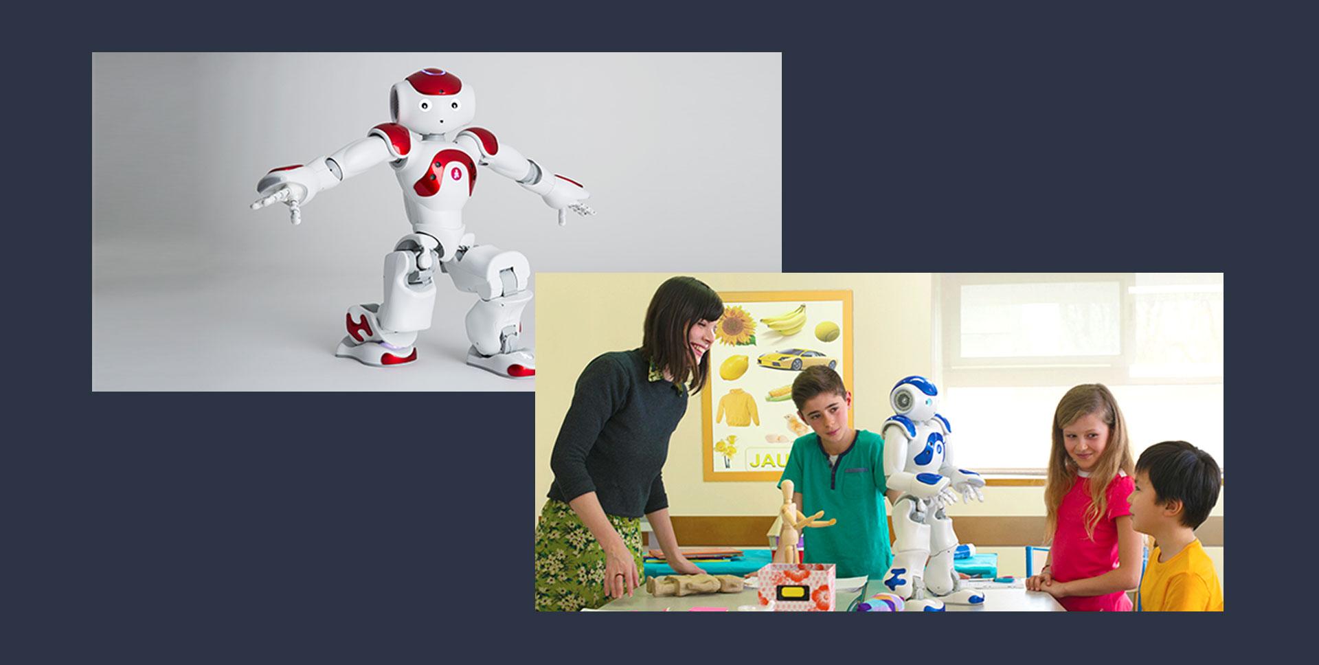 Photos of Nao, a robot friend designed by the company Softbank Robotics