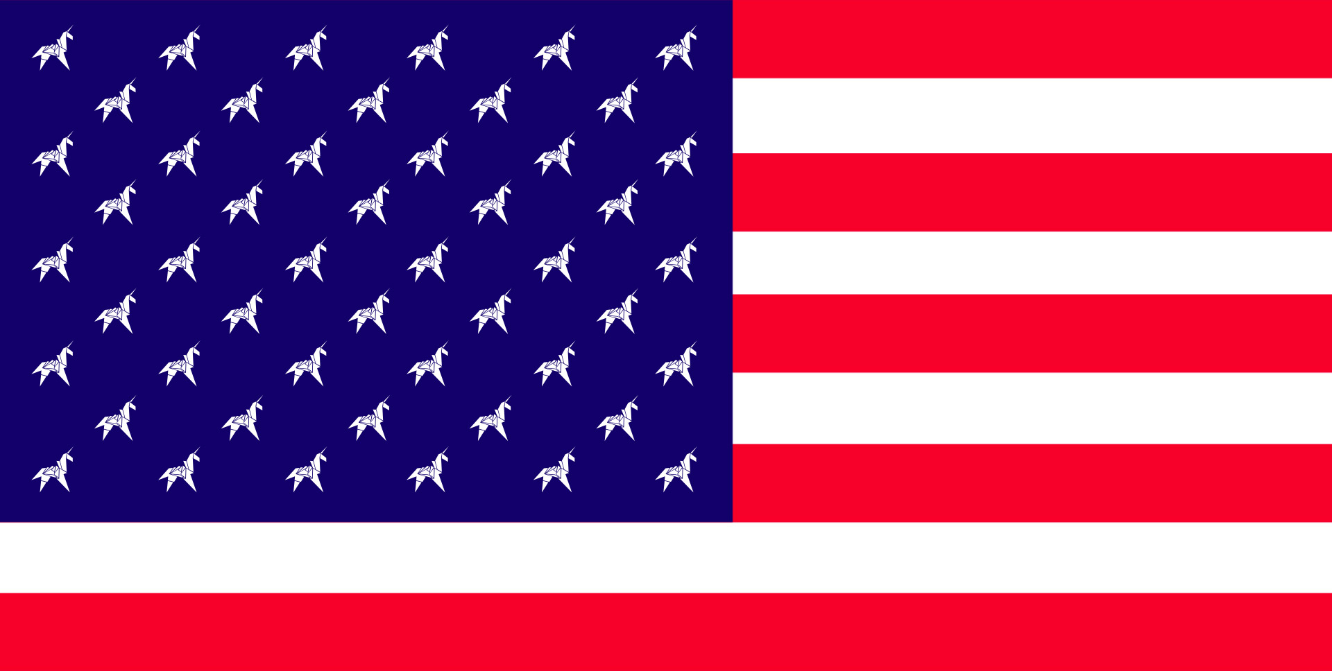 Illustration of the American flag with unicorns inplace of the stars