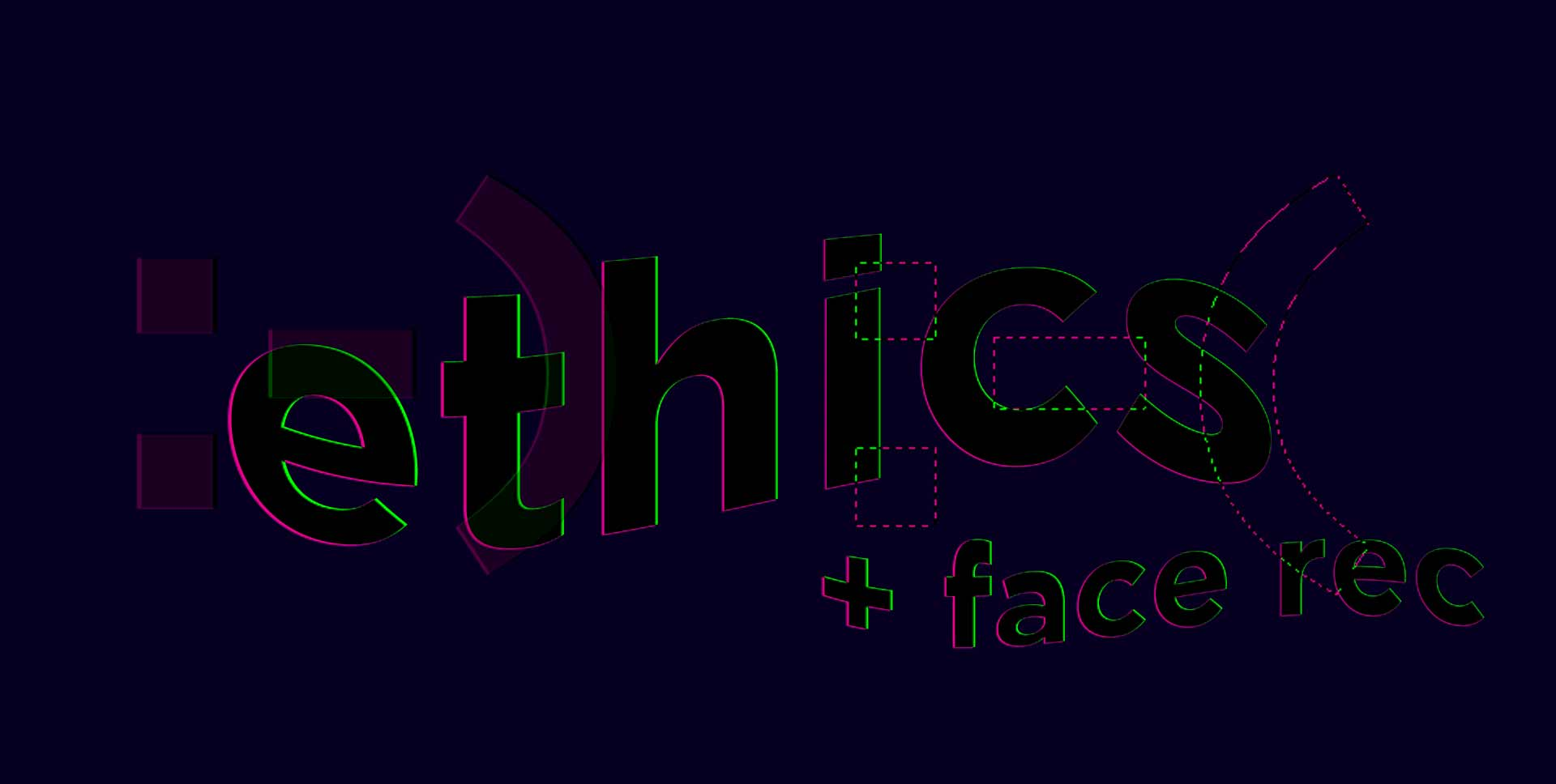 Illustration of the word 'ethics' and 'face recognition'