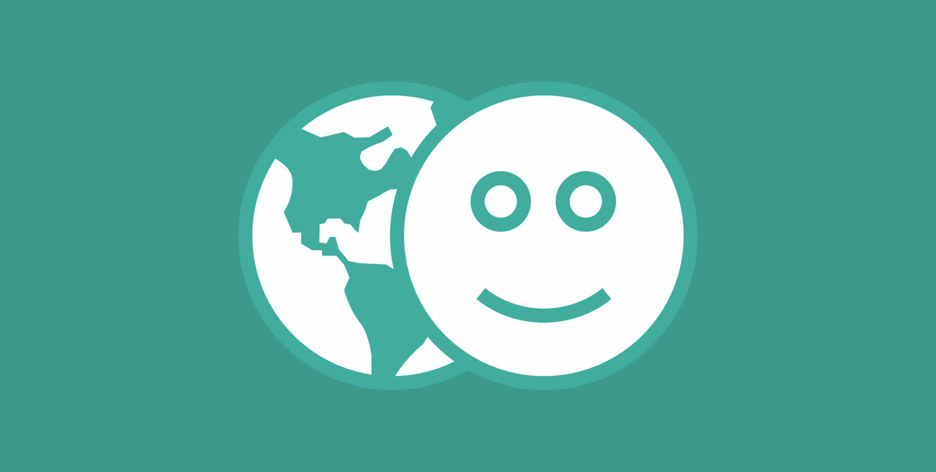 Illustration of the world and a smiley face, both on a green background