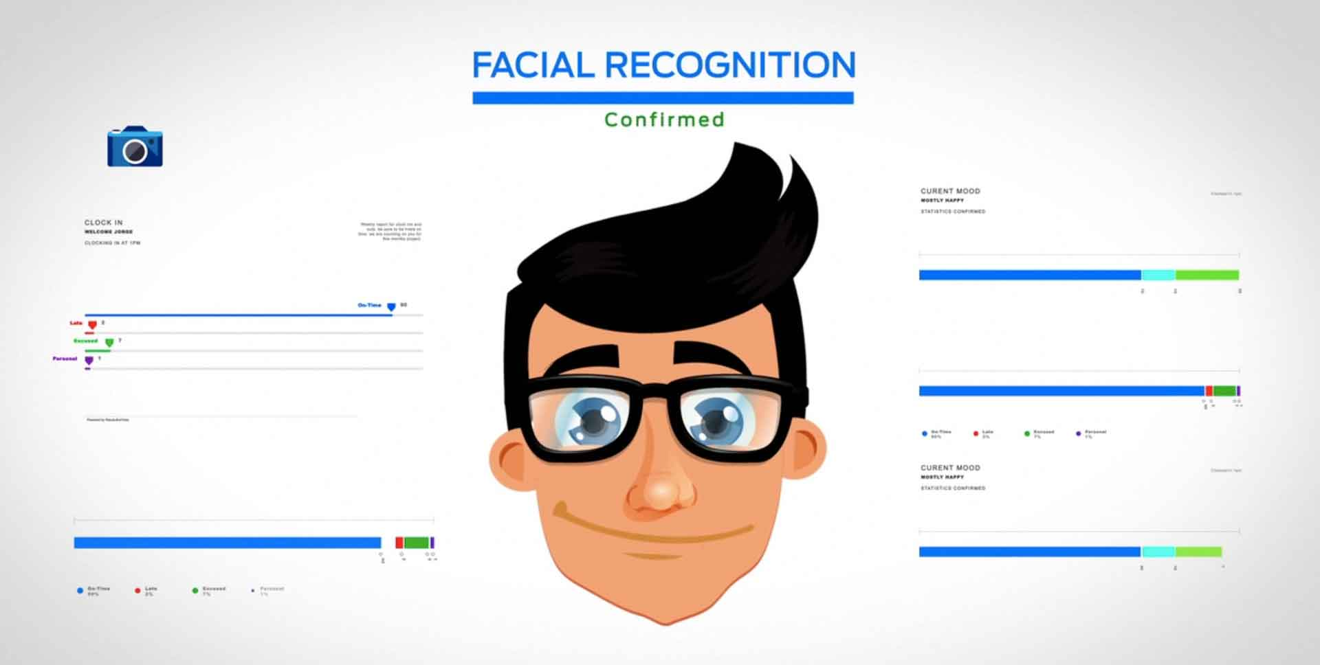 Illustration of a facial recognition porcess for time and attendance