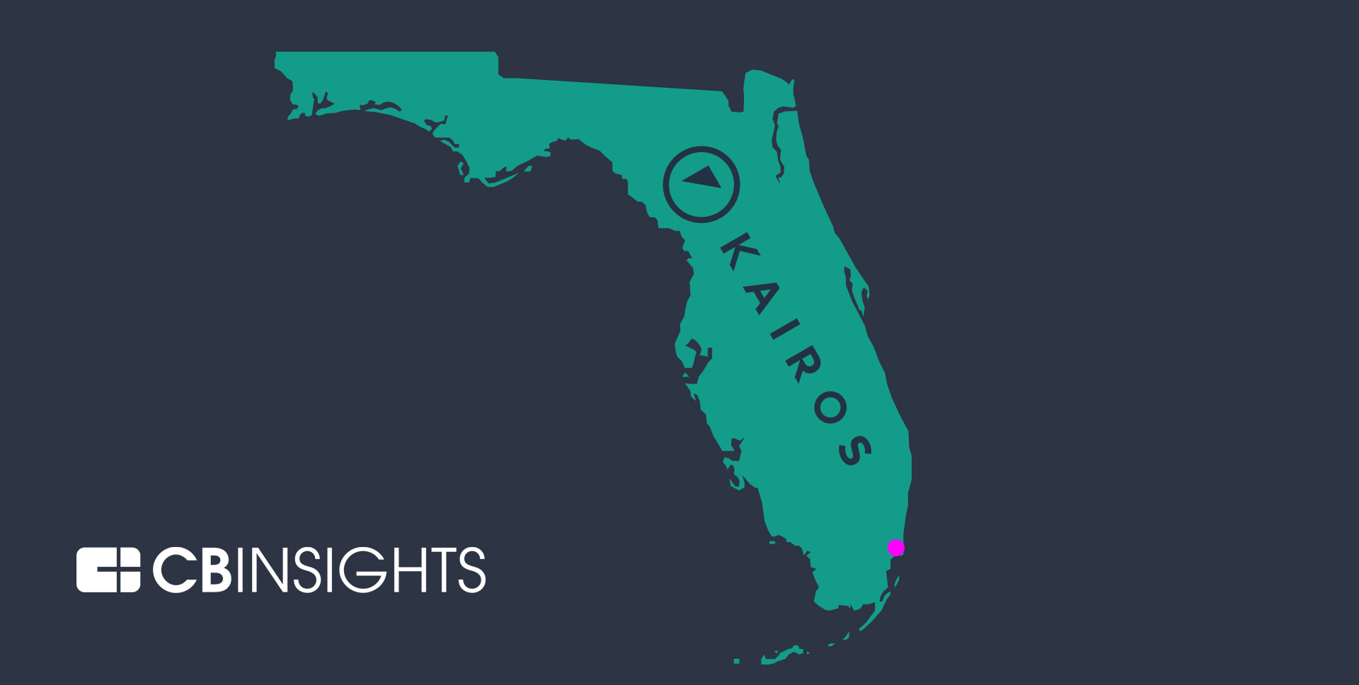 Illustrated map of Florida with the Kairos corporate logo overlaid