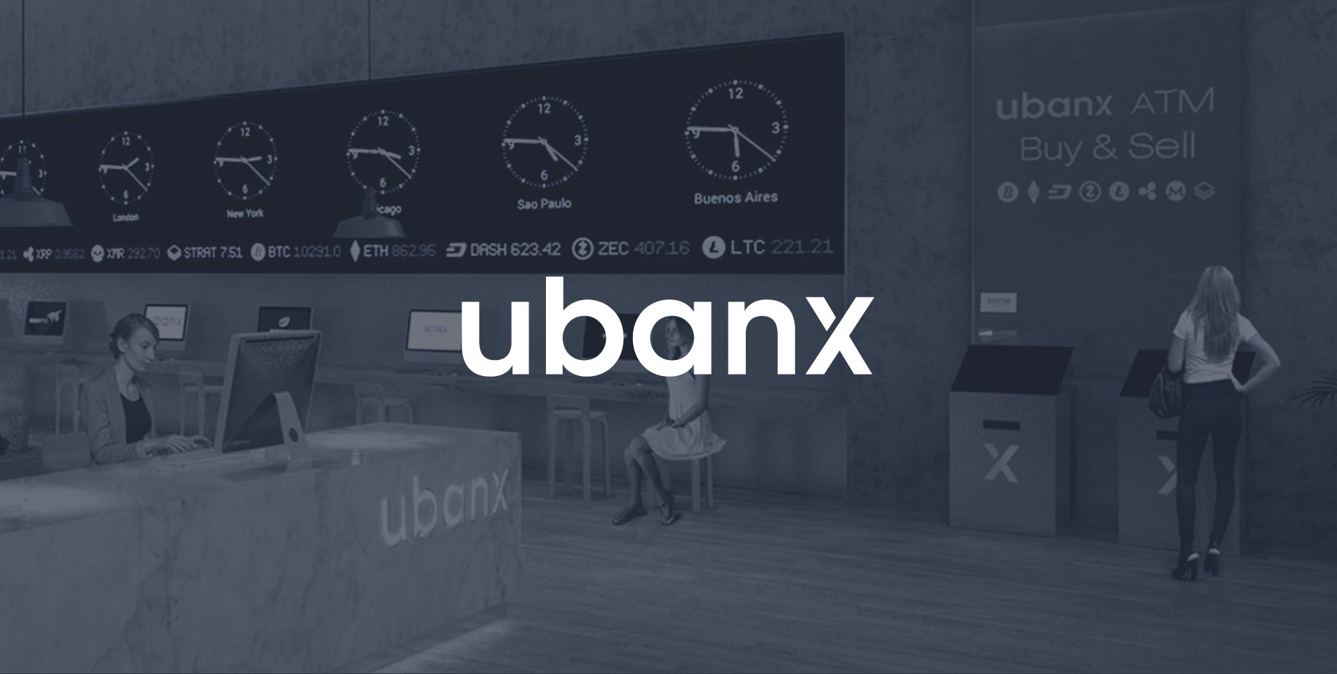 Photo of a Ubanx store with Ubanx logo overlaid