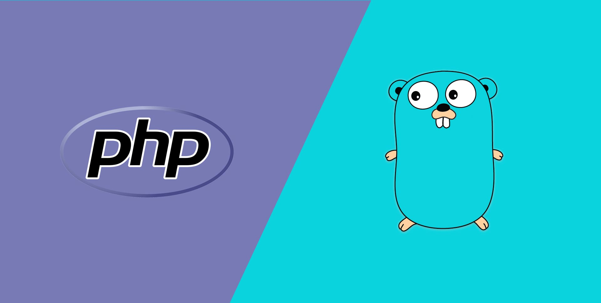 Illustrations of the PHP and Go programming languages logos