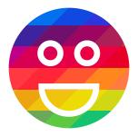 Line drawing of a face on a multi-colored emblem symbolizing a celebration of diversity