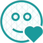 Smiley face icon with a grid pattern and heart shape overlay symbolizing emotion analysis