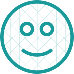 Smiley face icon with a grid pattern overlay symbolizing facial recognition